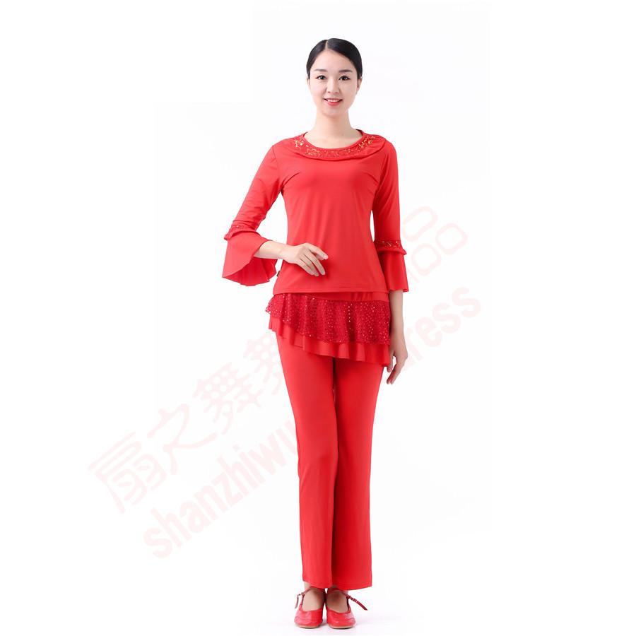 圆领帖本色上衣+亮点纱双层裙裤(红)