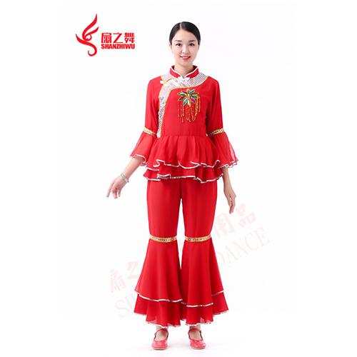 七彩吊花秧歌服(红)