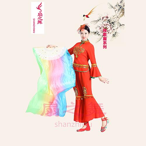 立领中国结红色秧歌服