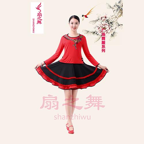 绣花边扣上衣+双层收折花边大摆裙红