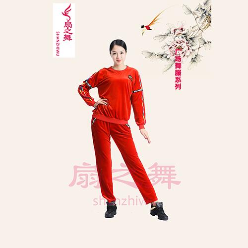 韩国绒运动广场舞裤套装-红