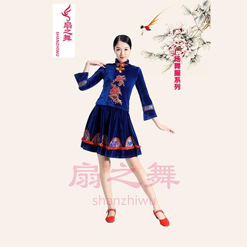 韩国绒广场舞裙套装蓝