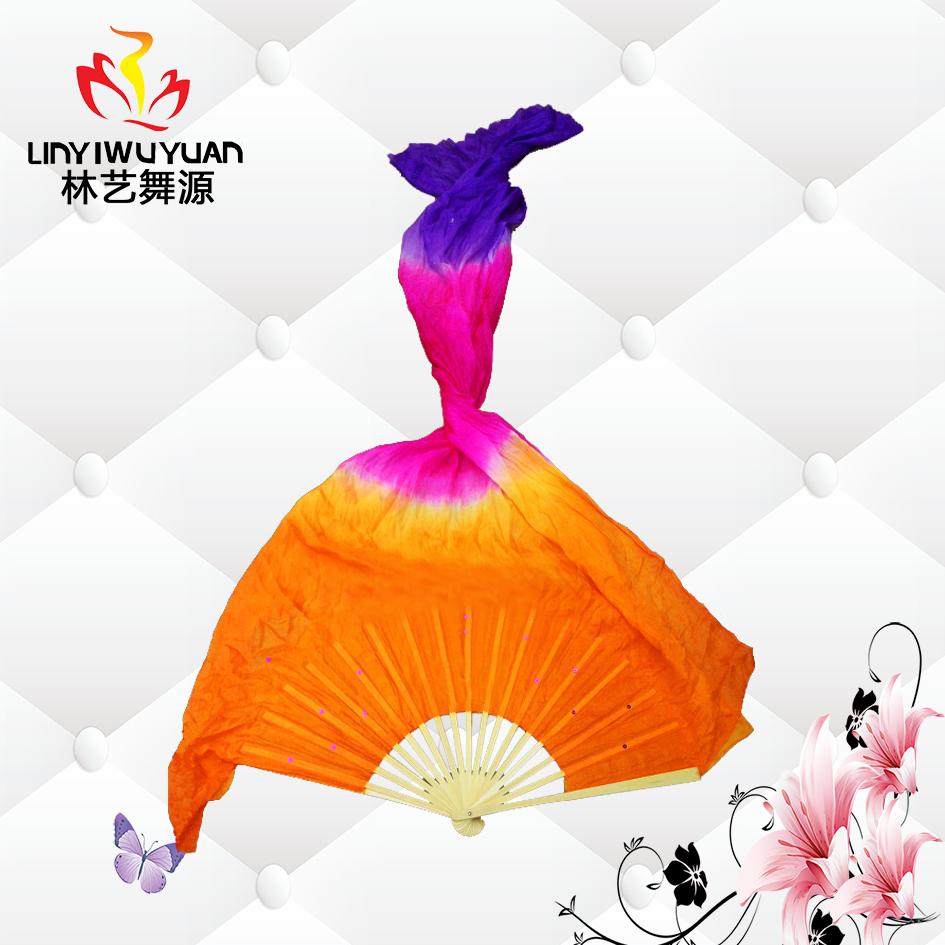 真丝长绸扇(橙-玫红-紫)