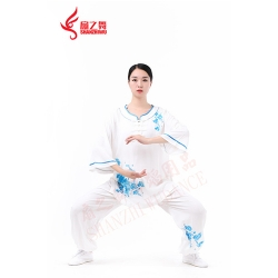 绣兰花竹节棉太极服