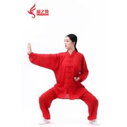 棉加丝太极服(大红)