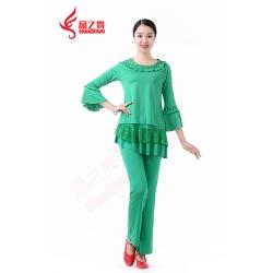圆领帖本色上衣+亮点纱双层裙裤(绿)
