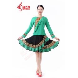 新款复古裙套装(绿)