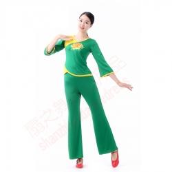 贴花喇叭袖套装(绿)