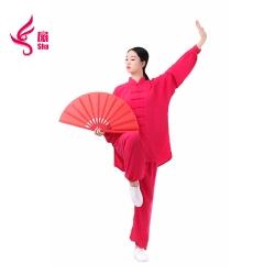 棉加丝太极服(玫红)