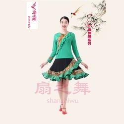 新款复古裙套装绿