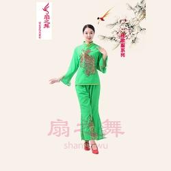 精品麻纱金色凤凰绿色秧歌服