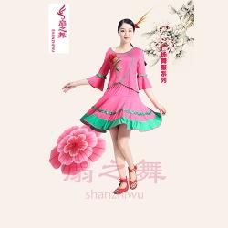 牛奶丝玫瑰花广场舞服