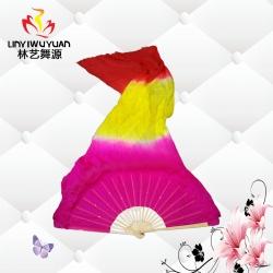 邯郸真丝长绸扇(玫红-黄-红)