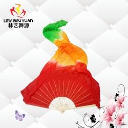 真丝长绸扇(红-橙-绿)