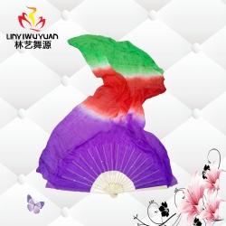 真丝长绸扇(紫-红-绿)